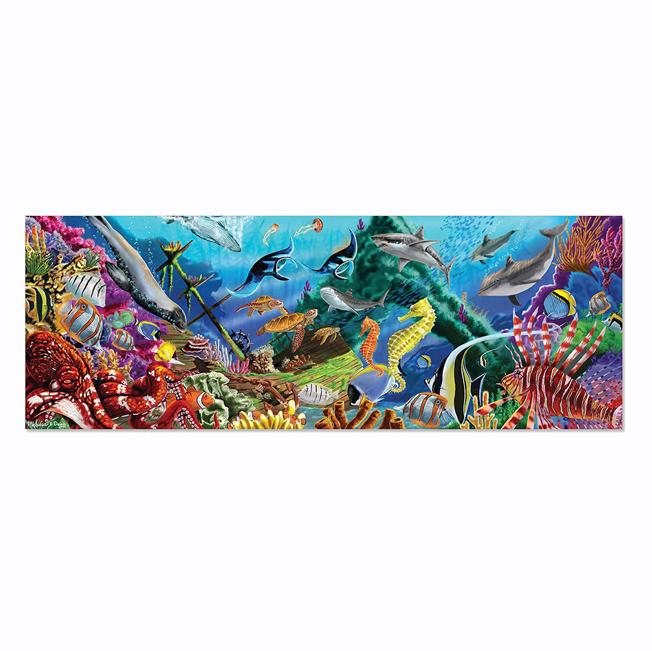 Challenge your kids to put together this 200 piece, beautiful Underwater Oasis jigsaw from Melissa and Doug. Complete the puzzle and explore the ocean depths with the beautiful underwater artwork. Over four feet long, this extra-thick puzzle features an easy-clean surface to keep it looking like new.