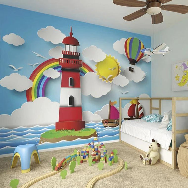 Rainbow lighthouse wall mural. A bright, colourful scene full of sunshine and rainbows will set the scene for your little ones imagination to go on an adventure. Perfect for injecting a good dose of fun into a bedroom or playroom.