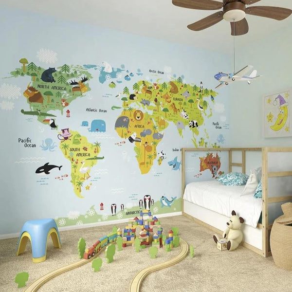 CreatWhole wide world wall mural. Let your little's ones go on a journey of discovery with this beautifully detailed pictorial world map. Travel continents and discover the lions in Africa, pandas in China and polar bears in the arctic. Unleash your imagination with this beautifully designed mural.