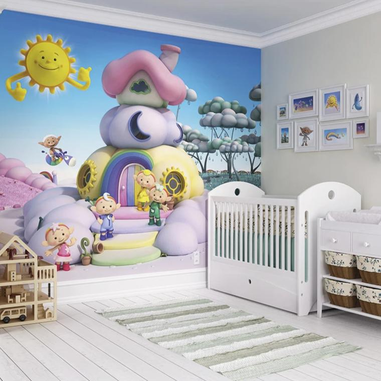 Cloudyhouse 3D wall mural.  With a warm welcome from the Cloudbabies, This mural also features a smiley welcoming Sun that will be sure to brighten any room.