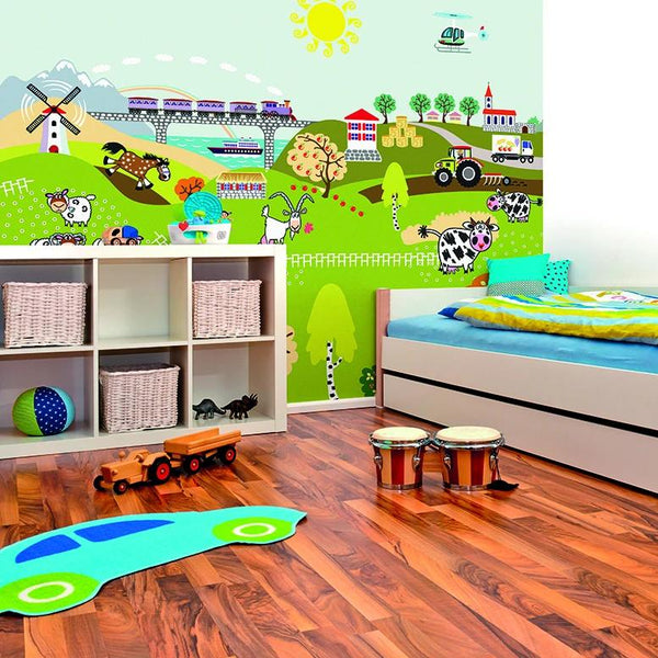 CreFarm life wall mural.  Perfect for little boys and girls who love all things outdoors, this charming wall mural with embrace your little ones and take them on many adventures.  Beautiful images and bold playful colours are ideal for bedrooms and playrooms in any home.