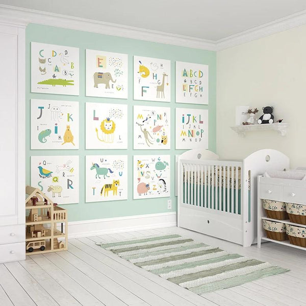 Animal alphabet wall mural. This beautiful wallpaper is a stylish and imaginative way to decorate any nursery or children's bedroom.