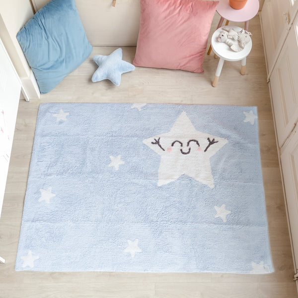 Count all the stars in the sky with this rectangular soft blue washable rug from Lorena Canals. 100% cotton and machine-washable, this modern design is ideal for decorating nurseries, kids rooms or improvised play areas.