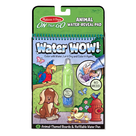 This exciting paint-with-water coloring book from Melissa and Doug leaves no mess! It includes four reusable pages and a refillable water pen.