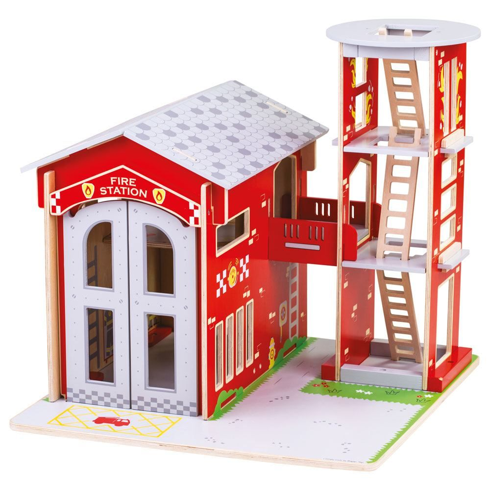 This delightfully detailed wooden City Fire Station from Bigjigs Toys is perfect for your inspiring little firefighter! Ignite imaginative play where the firefighters are alert and ready to race to the rescue! Featuring a pole, training tower with removable ladders, mezzanine for firefighters living quarters, working double doors and removable roof panels for easy access.