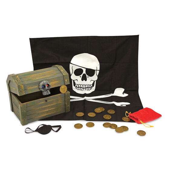 Your little pirate can store your treasures in this wooden pirate chest from Melissa and Doug! The hand-stained chest features a be-jeweled skull lock. Included in the set are a pirate bandana, an eye patch, a velvety loot bag, golden doubloon coins and a secret compartment to stash away your most valuable treasure.