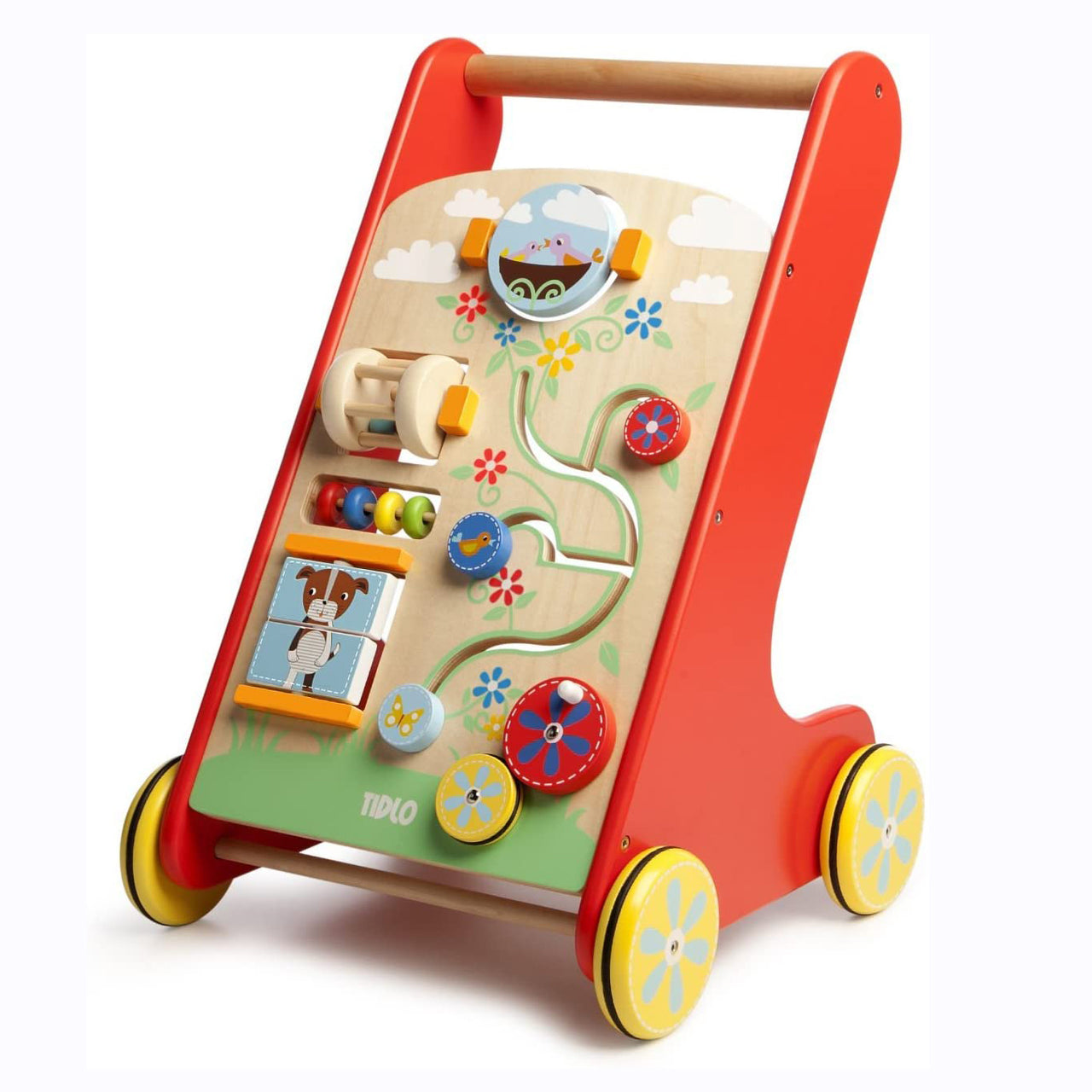 Make learning how to walk fun with the Tidlo Activity Walker! Full of exciting and entertaining activities that are sure to provide hours of playtime fun! This brightly coloured walker includes a spinning cage rattle, mini abacus, a spinning mirror, matching blocks and more to entertain and stimulate young minds. There is even a handy storage tray at the back so your favourite teddy can come along for the ride too!