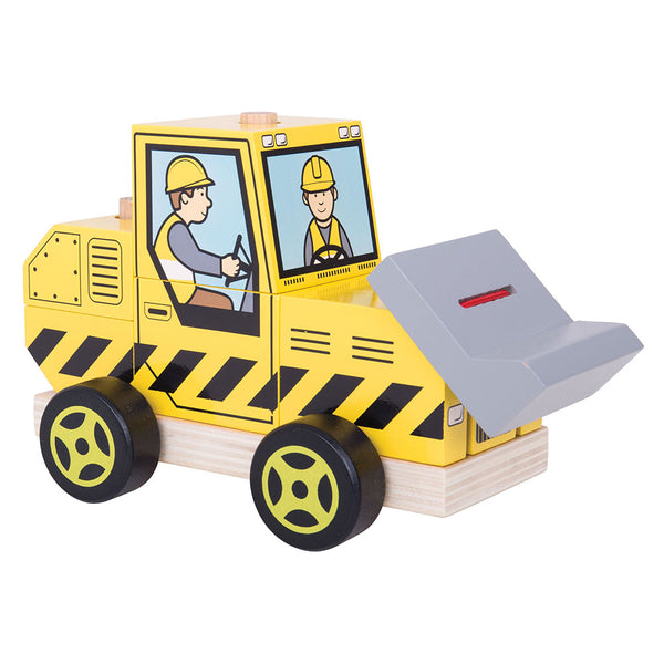 Two toys in one! Develop problem solving skills with this stacking and push along wooden toy from Bigjigs. Stack all of the pieces up in the correct order to move the vehicle and begin the fun! Includes moveable front bulldozer. Made from high quality, responsibly sourced materials.