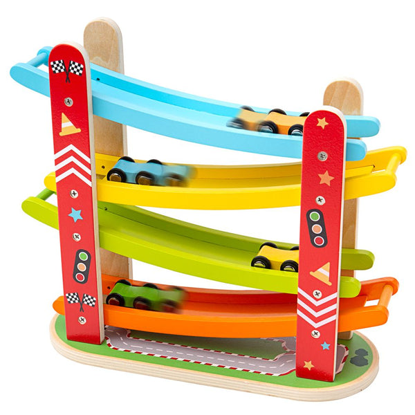 Ready, steady, Go! The Wooden Car Racer from Bigjigs is a classic racing toy that provides endless hours of fun! Little ones will love watching the mini wooden cars race down the ramps and shoot out at the bottom! You'll have to be quick at catching before they reach the end! A great game for friends or play individually. Includes 4 colourful cars. A great way to encourage imaginative play. Made from high quality, responsibly sourced materials.