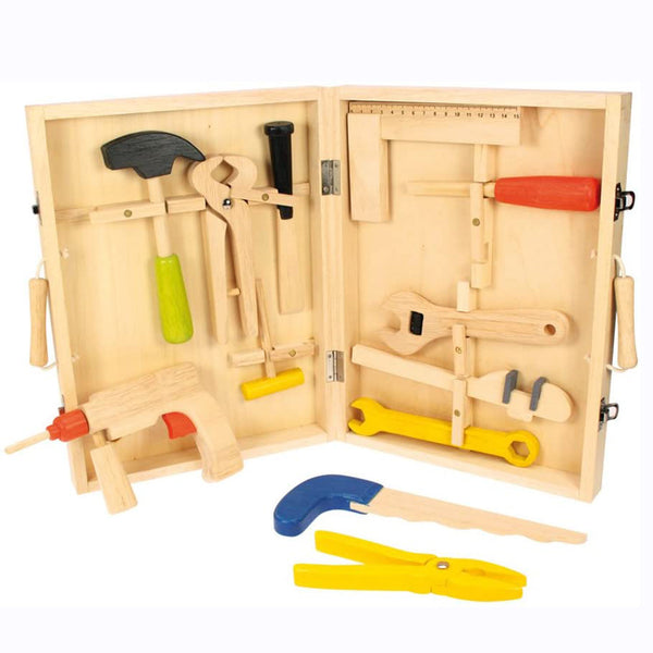 This practical Tool Box from Bigjigs is full with wooden tools that will delight youngsters looking to develop their crafting skills. The play items include a hammer, pliers, a power drill, plus files and spanners, which all slot neatly into place for easy storage. Helps to develop dexterity and co-ordination. Made from high quality, responsibly sourced materials. Consists of 13 play pieces.