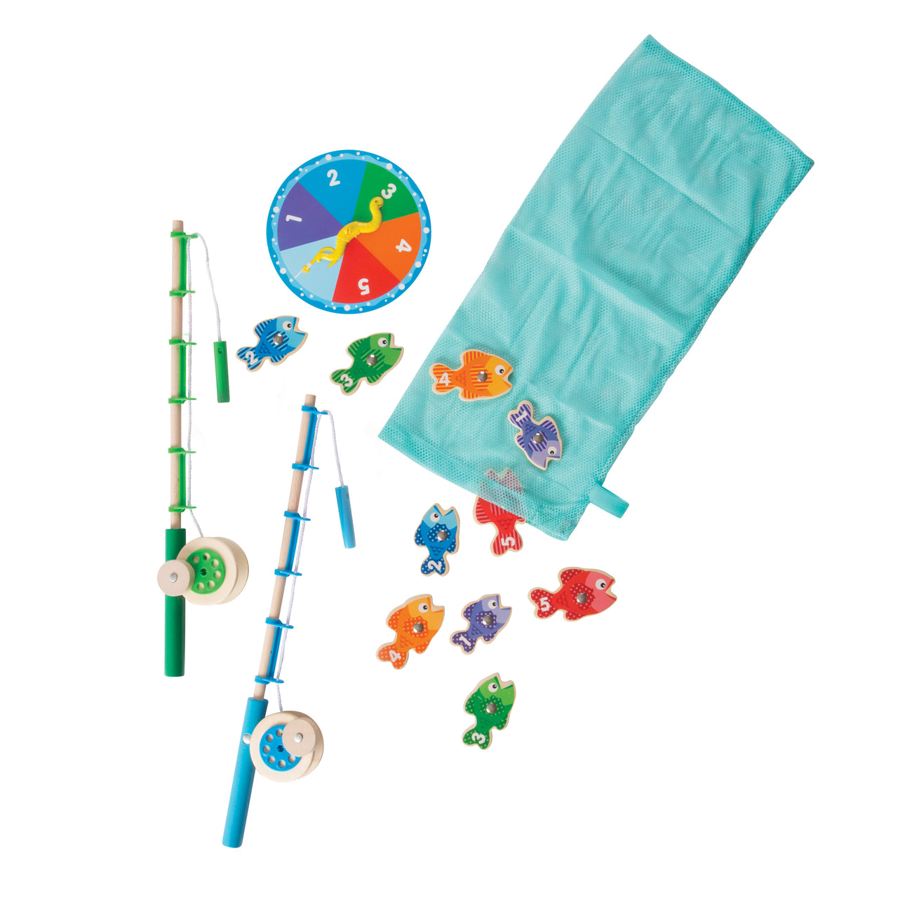 Provide endless hours of fun for your little ones with this Catch and Count Magnetic Fishing Game from Melissa and Doug! The 10 magnetic fish are numbered and patterned to enrich matching, sorting, and counting activities, and two wooden rods. Includes working wind-up rod and reel.