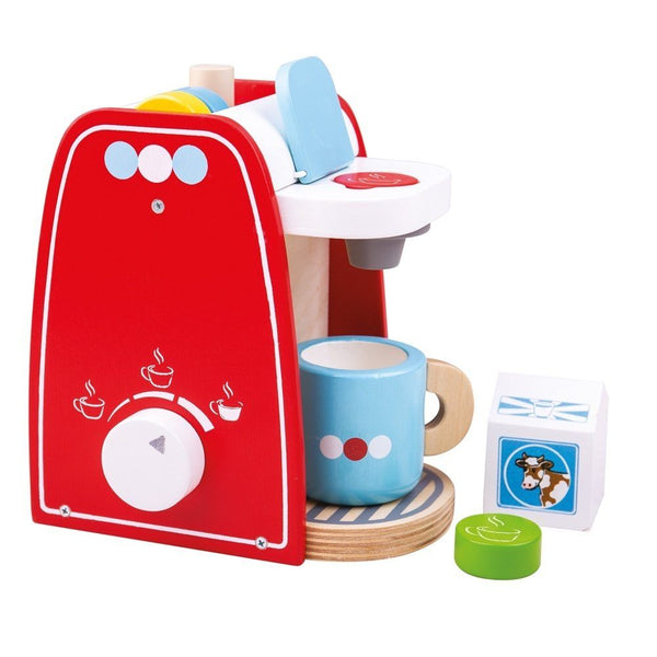 This colorful little Coffee Maker from Bigjigs is the perfect addition to any play kitchen. Place the coffee pod in the machine and twist the dial to brew the perfect cup of coffee. This realistic playset includes 4 wooden coffee pods, a coffee machine, mug and carton of milk. Perfect for interactive play sessions. Encourages creative and imaginative role play. Made from high quality, responsibly sourced materials.