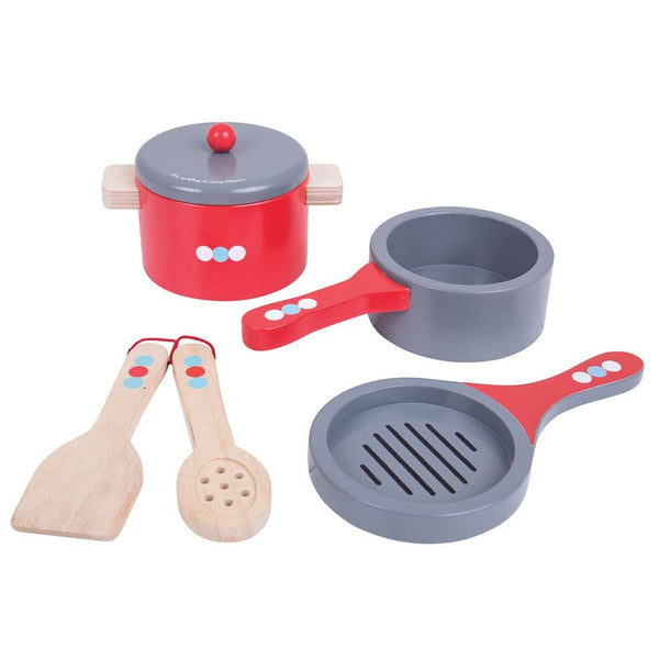 Inspiring young chefs will be able to cook up a storm with this wooden cookware set including a frying pan, two cooking pots and wooden utensils from Bigjigs! The perfect addition to any play kitchen. Your little one will be able to learn the correct way to use the cooking pans, and will soon be cooking up a family feast! This wooden set is guaranteed to produce endless hours of fun. Encourages creative and imaginative role play. Made from high quality, responsibly sourced materials.