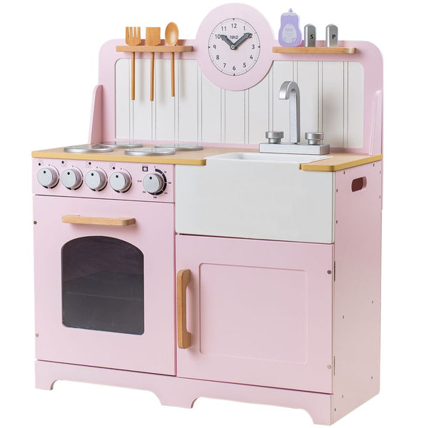 Help your inspiring young chefs cook up a storm with the delightful Pink wooden Country Play Kitchen from Tidlo. This lifelike playset features an oven and hob with clicking dials, a storage cupboard, a Belfast sink, utensil shelves and a clock with moveable hands, to ensure dinner is served on time!