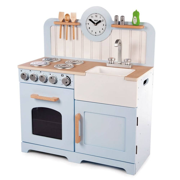 Help your inspiring young chefs cook up a storm with the delightful wooden Country Play Kitchen from Tidlo. This lifelike playset features an oven and hob with clicking dials, a storage cupboard, a Belfast sink, utensil shelves and a clock with moveable hands, to ensure dinner is served on time! Plus, three kitchen utensils which can be slotted tidily in the shelf above the hob, a plastic bowl in the sink, salt & pepper and washing up liquid, making the kitchen feel more like home for any aspiring chef.