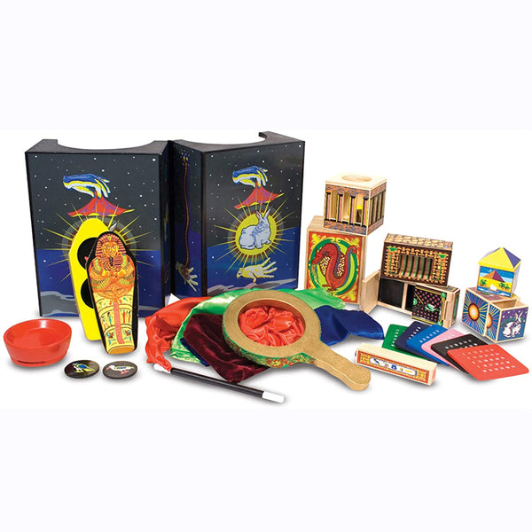Your little aspiring magician will get plenty of practice with this deluxe Magic Set from Melissa and Doug! Prepare to be amazed with this set that includes 10 classic tricks, including Disappearing Ball, Magic Coin Box, Secret Silks, Great Escape, Magic Number Prediction, Money Maker, Egyptian Prediction, Vanishing Zone, Cylinder Squeeze, and Vanishing Coin.