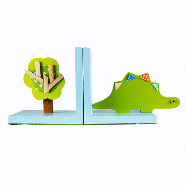 Designed and hand-crafted in Italy, these bookends with a light blue wooden base and a green dinosaur design will bring colour and imagination to your child's bedroom.