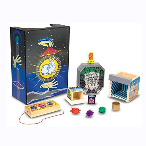 Your little aspiring magician will get plenty of practice with this Discovery Magic Set from Melissa and Doug! Prepare to be amazed with this set that includes 4 tricks, Magic Jewel Box, Colour Changing String, Chamber Of Illusion and The Sword In The Stone. Designed to improve confidence and fine motor skills.