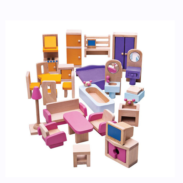 This colourful wooden furniture set from Bigjigs is perfect to create your dream play home! With enough individual pieces to fully furnish a kitchen, lounge, bedroom, bathroom and even an attic.