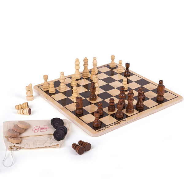 Your rascals can learn to play both Chess and Draughts with this traditional board game set! Includes the traditional black checkered board and all pieces needed to play chess and draughts in a small drawstring bag.