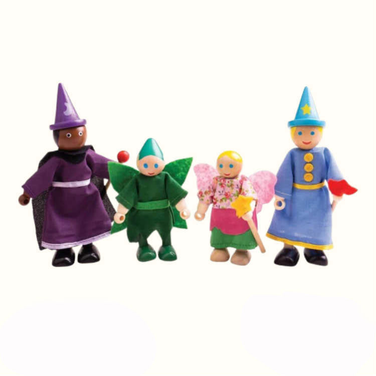 These beautifully unique Wooden Fantasy Dolls from Bigjigs Toys are perfect for creative roleplay sessions! Includes a witch, wizard, pixie and fairy.