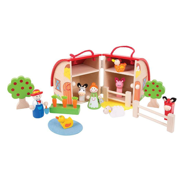 Your little farmers can get to work with this brightly coloured wooden Mini Farm Playset from Bigjigs! It is decorated with features and opens us to reveal Mr and Mrs Farmer, a duck in a pond, a horse, a sheep, a cow, a chicken, a pig, carrots, fences and trees. The string handle and secure clasp ensure that this Playset is always ready to travel with your little one and all of the play pieces can be stored safely inside. Made from high quality, responsibly sourced materials. Consists of 16 play pieces