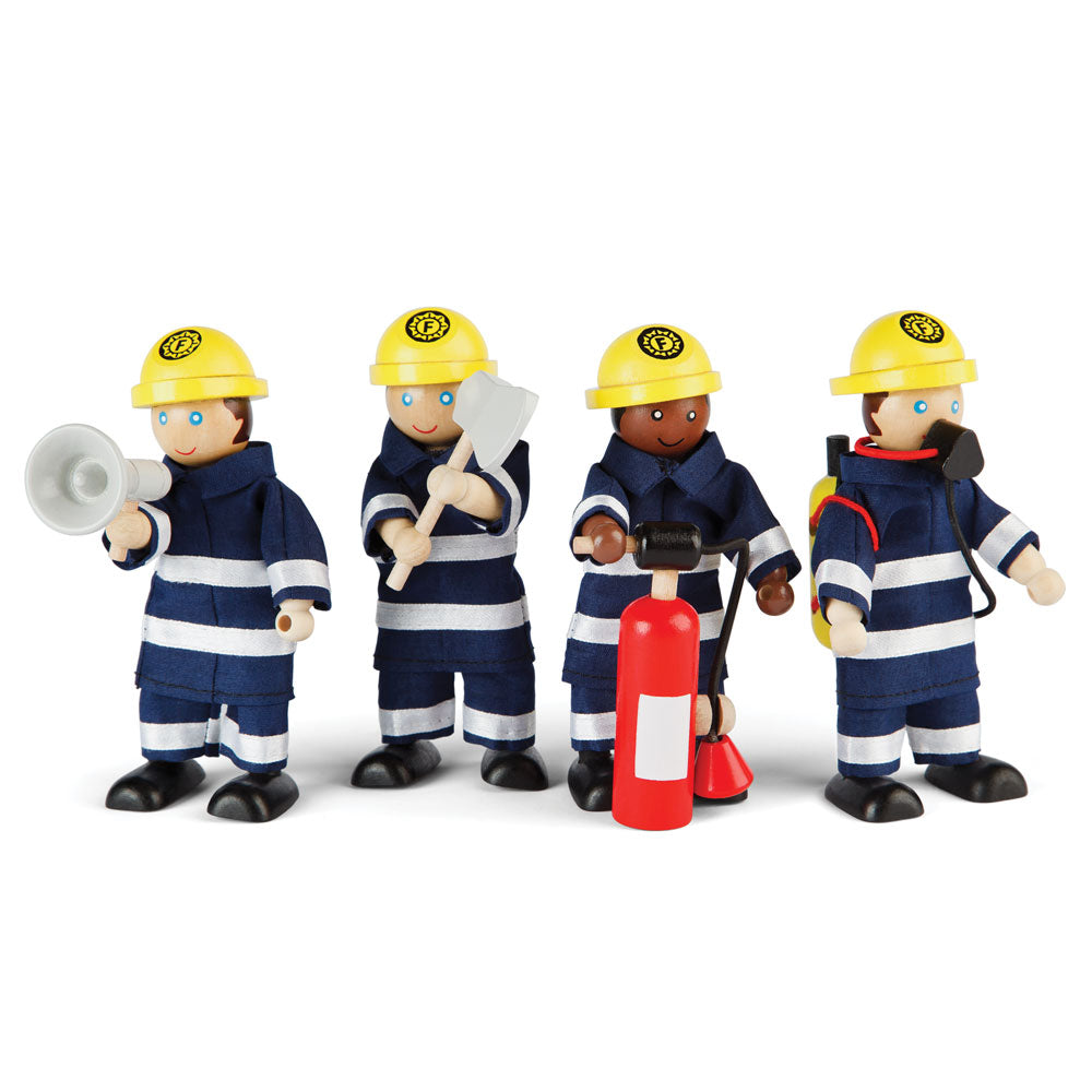 These delightfully detailed wooden Firefighters from Bigjigs Toys is perfect for your inspiring little firefighter! Set of four firefighters ready to race to the rescue, put out fires, rescue cats out of trees and whatever else the imagination allows! The firefighters are dressed suitably ready for a day of fire fighting with accessories, including an axe, megaphone, fire extinguisher and breathing equipment.