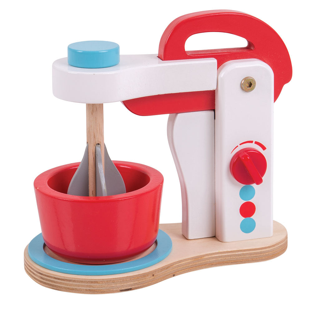 Create some delicious treats with this realistic Food Mixer from Bigjigs! There is an on/off dial, a liftable mixer that actually rotates and a bowl awaiting ingredients! Plus, the on/off dial makes a realistic clicking noise. With its quality wooden construction this set is the perfect addition to any play kitchen. A great way to develop creativity, imagination and fine motor skills. Made from high quality, responsibly sourced materials.