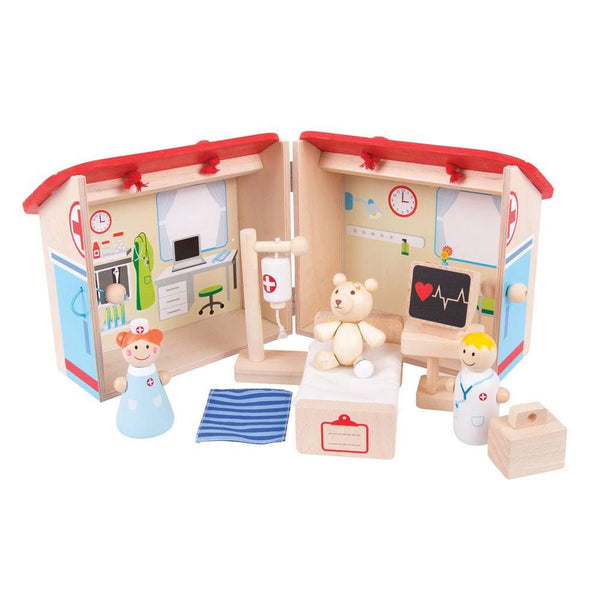Your Inspiring little doctors can get to work with this brightly coloured wooden Mini Hospital Playset from Bigjigs! It is decorated inside and outside with features and is supplied complete with a hospital bed, medical drip, heart monitor, bear, nurse and doctor. The string handle and secure clasp ensure that this Playset is always ready to travel with your little one and all of the play pieces can be stored safely inside. Made from high quality, responsibly sourced materials.