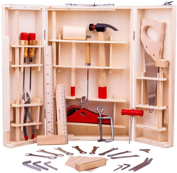 This Junior Kids Wooden Tool Box from Bigjigs has everything a budding builder needs to develop their creative skills and construction craft! This kids tool box set features 28 functional tools that can be used on real-life DIY projects. Young carpenters can choose from screwdrivers, saws, spanners, a hammer and a plane to name just a few!