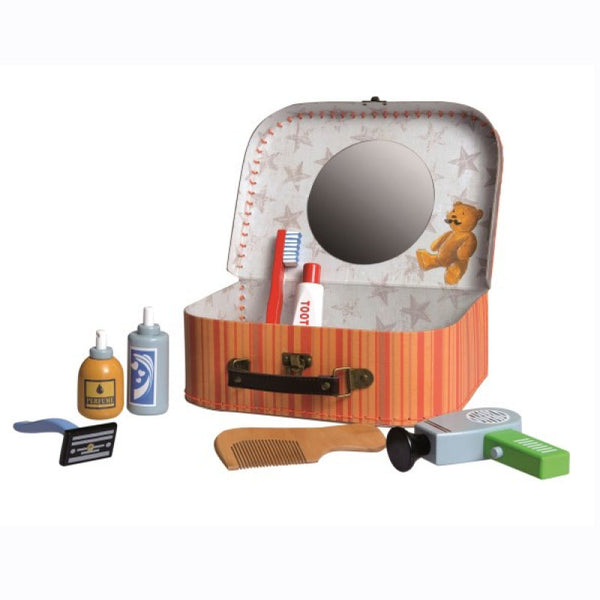 This toy shaving kit is beautifully designed with wooden grooming equipment including a razor, comb, hairdryer, toothbrush and more. The kit is stored inside a stunning little case decorated with illustrations and patterns and  with a mirror inside the lid.