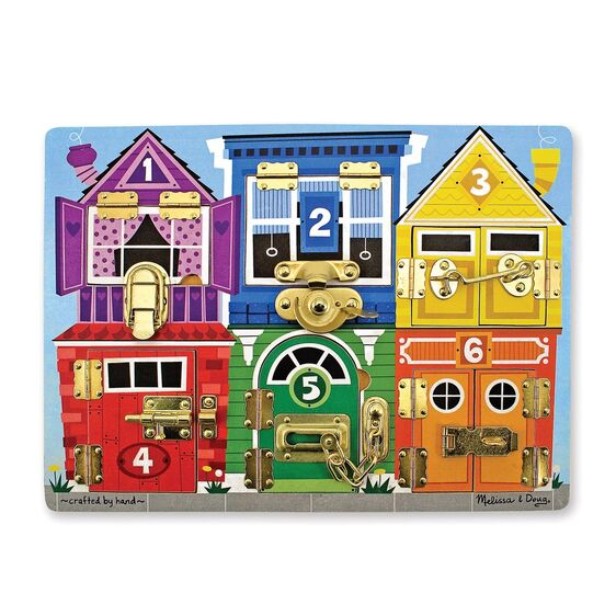 This beautifully crafted sturdy wooden latches board from Melissa and Doug helps kids build dexterity as they figure out how 6 different latches work. Undo a lock or latch, swing open the numbered door and count on finding fun when the picture beneath is revealed. Build fine motor skills while learning colors, numbers, animals and more!
