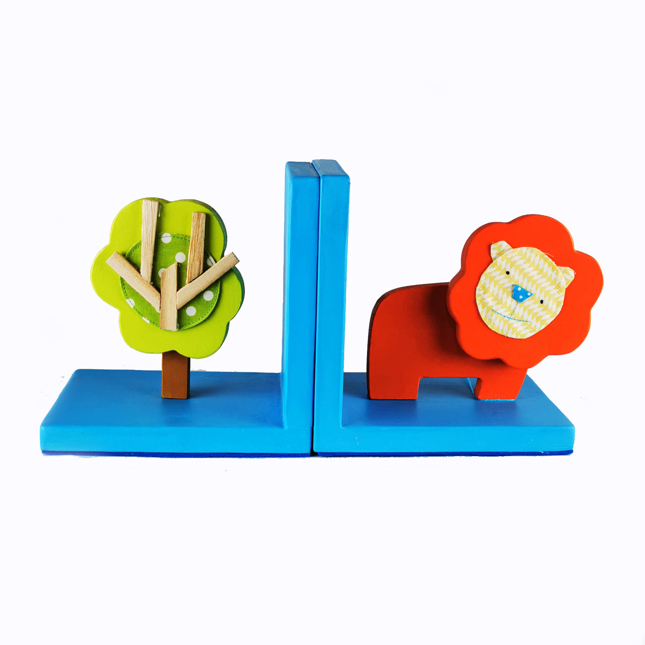 Designed & hand-crafted in Italy, these bookends with a with a blue wooden base and a orange lion design will bring colour and imagination to your child's bedroom.