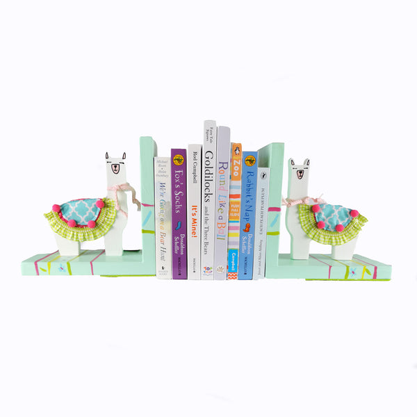 Designed and hand-crafted in Italy, these bookends with a light blue wooden base and a white Llama design will bring colour and imagination to your child's bedroom.