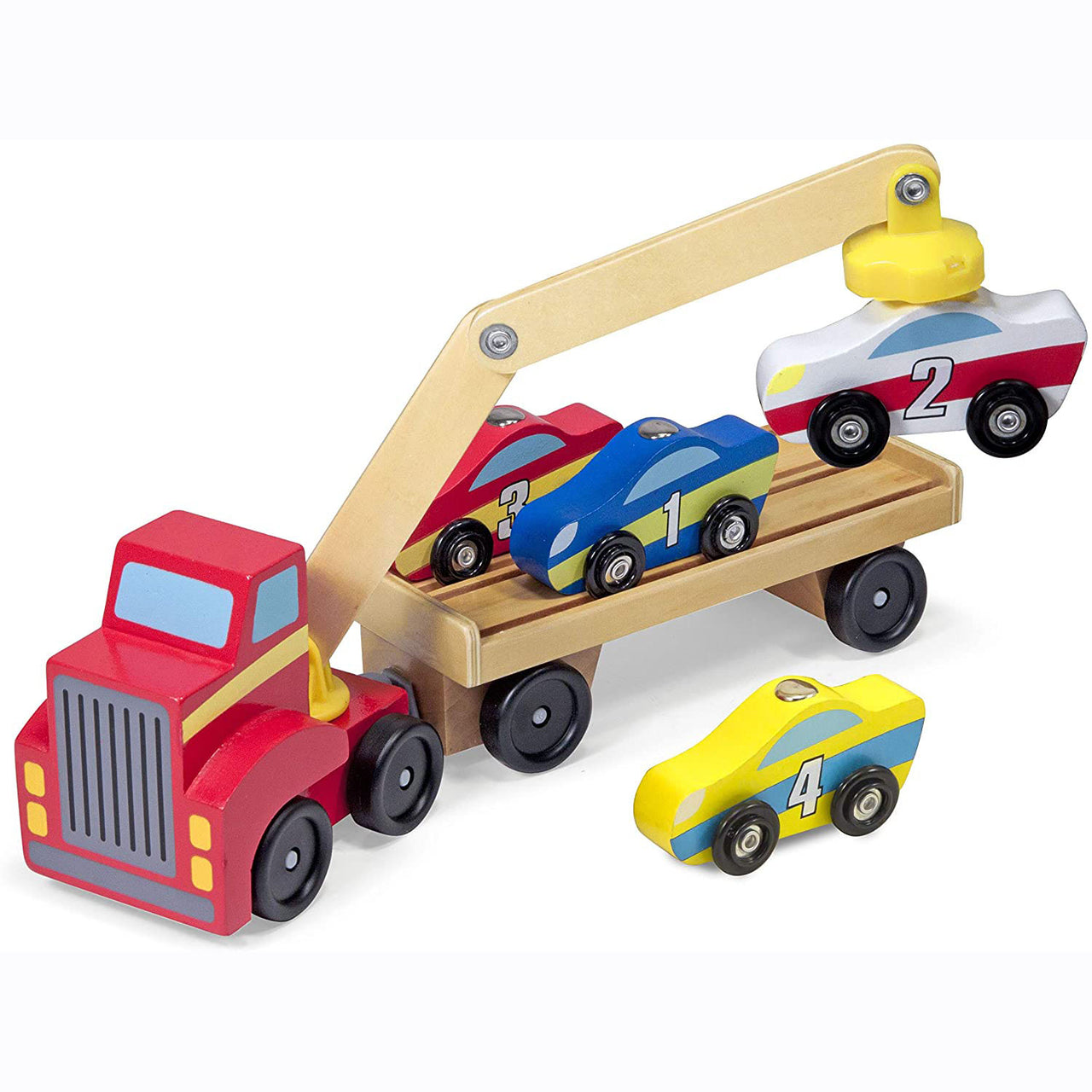 This big red car loading truck has a magnetic arm that can reach every car on its trailer!