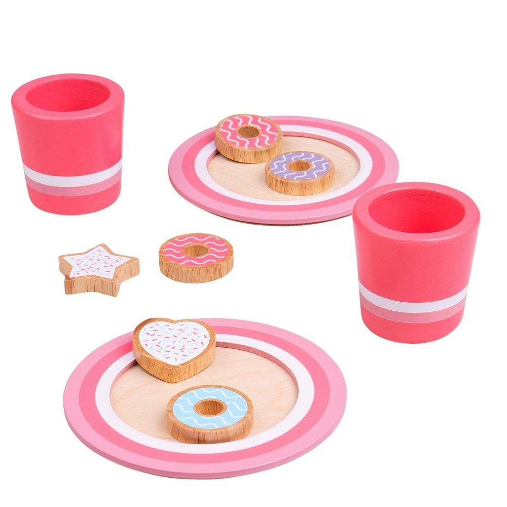 Treat yourself with some delicious milk and cookies, or share a sweet treat with a friend or family member. This fun wooden play food set from BigJigs includes 6 wooden biscuits, 2 plates and 2 cups. Encouraging your childs creative thinking and imaginative play sessions, and a great addition to any wooden play kitchen. Develops dexterity and improves social skills from an early age. Made from high quality, responsibly sourced materials.