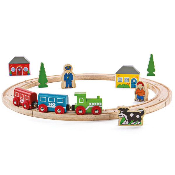 My First Train Set is a creative and educational way to play! The chunky toy train pieces are perfect for being grabbed by little hands, making this the ideal wooden train set for toddlers.