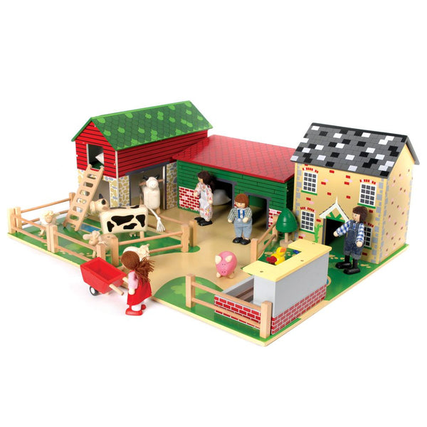 Your little farmer will be busy at work with this Oldfield Farm from Bigjigs! It has everything a young farmer needs to run a successful farm, including a barn with loft and ladder, an animal shed, farmhouse, pigsty, fences and wooden play base.