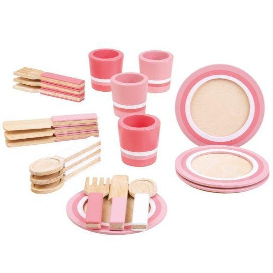 Your little chefs can cook up a storm of meals and treats with this brightly coloured wooden Pink Dinner Service Set from Bigjigs. The set comes supplied with 4 wooden plates, cups, knives, forks and spoons - making it a great addition to any wooden play kitchen.