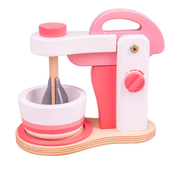 Create some delicious treats with this realistic Pink Food Mixer from Bigjigs! There is an on/off dial, a liftable mixer that actually rotates and a bowl awaiting ingredients! Plus, the on/off dial makes a realistic clicking noise. With its quality wooden construction this set is the perfect addition to any play kitchen. A great way to develop creativity, imagination and fine motor skills. Made from high quality, responsibly sourced materials.