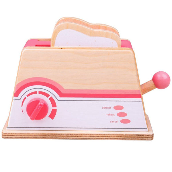 The Bigjigs Toys Pink Toaster is a great addition to any wooden play kitchen. Place the wooden bread slices in the slotted toaster, and then adjust the dial to the preferred setting. Then pop it up once it is ready!  It is a great way to introduce even more fun in the kitchen, with role playing and imaginative play sessions. Made from high quality, responsibly sourced materials.