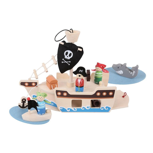 Your little Pirates can set sail with this wooden Mini Pirate Ship Playset, supplied complete with a captain, two pirates, boat, anchor, treasure chest and even a shark! The string handle and secure clasp ensure that this Playset is always ready to travel with your little one and all of the play pieces can be stored safely inside. Made from high quality, responsibly sourced materials. Consists of 10 play pieces.