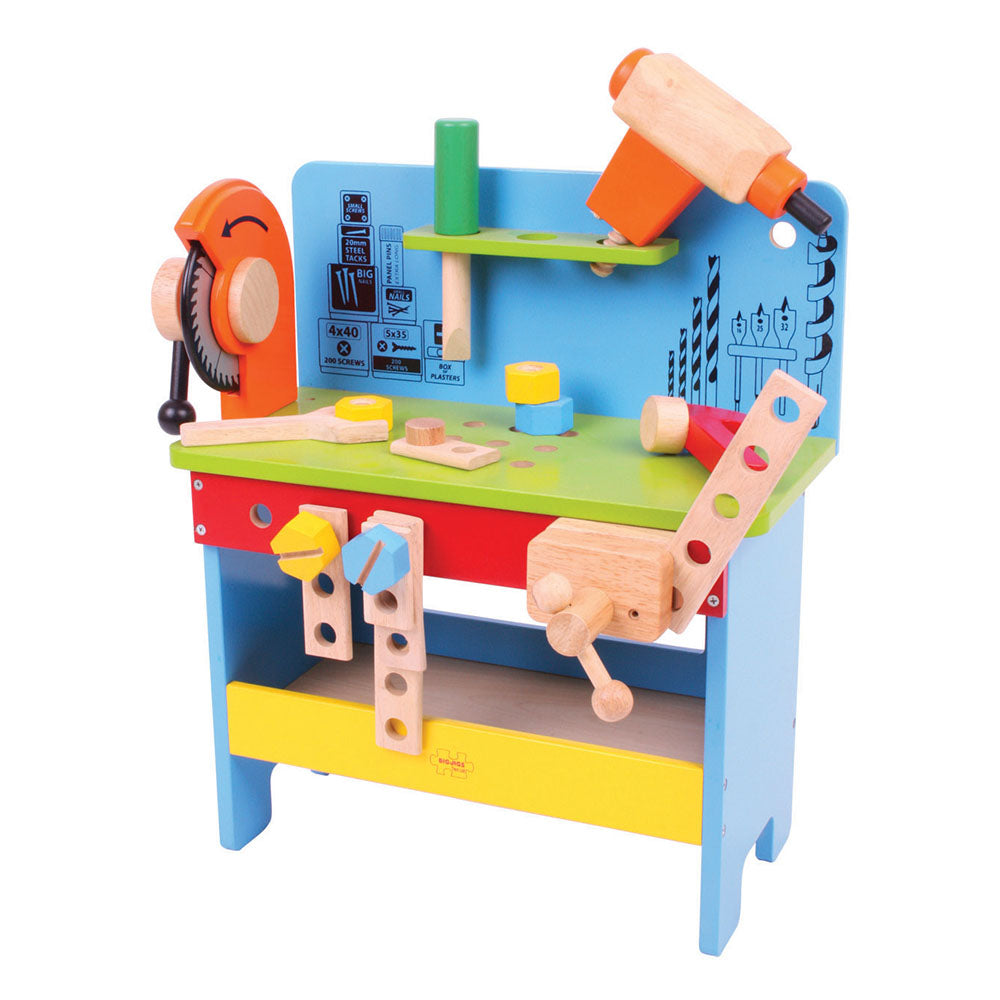 This sturdy, brightly coloured wooden Powertools Workbench from Bigjigs is packed with features, including a clamp, spanner, power screwdriver, hammer, a vice and plenty of nuts and bolts. Helps to develop dexterity and co-ordination.