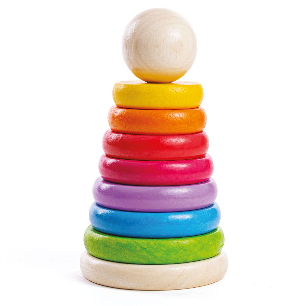 Stack these wooden hoops from the biggest to the smallest on the pole, with this brightly coloured wooden Rainbow Stacker from Bigjigs! The stacking pole folds flush with the stand when it's empty, for optimum safety. Helps to develop dexterity and co-ordination. Made from high quality, responsibly sourced materials.  Consists of 9 play pieces.