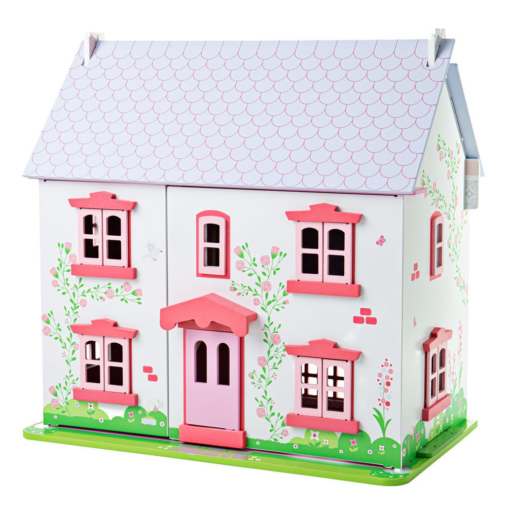 This beautifully detailed Rose Cottage from Bigjigs will provide endless hours of imaginative play for your little ones and their dolls! Beautifully constructed in wood with lift-back roof pieces, loft access and easy access to all the rooms, there's even a sliding patio door to the rear. Includes 18 pieces of furniture.