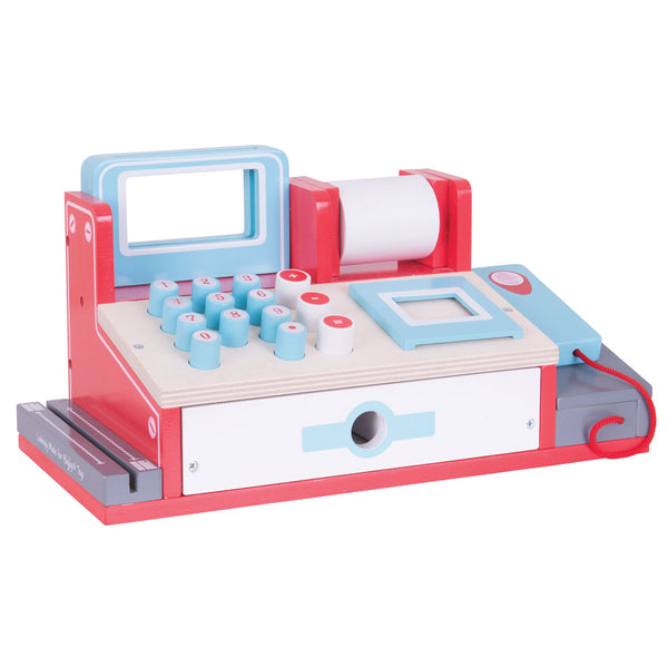 This Shop Till with Scanner from Bigjigs Toys is the perfect addition to your little ones pretend play shop. They can scan the items using the scanner, offer different payment methods including credit card and cash, and even create a receipt for their customer!