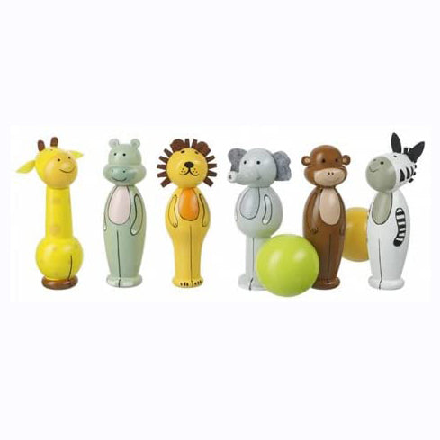 These Safari Skittles from Orange Tree Toys are the perfect traditional wooden toy! Stand them up...and knock them down! These cute and colourful wooden toy skittles are the perfect size for indoor play and also ideal for outdoor play. The set includes 6 adorable wooden safari animals; a giraffe, hippo, lion, elephant, monkey and zebra and 2 wooden balls.