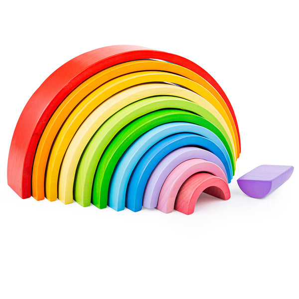 With these large wooden rainbow stacking blocks, little hands can assemble a variety of shapes and objects and learn all about different sizes and colours. Made from solid wood and coloured with non-toxic paints.