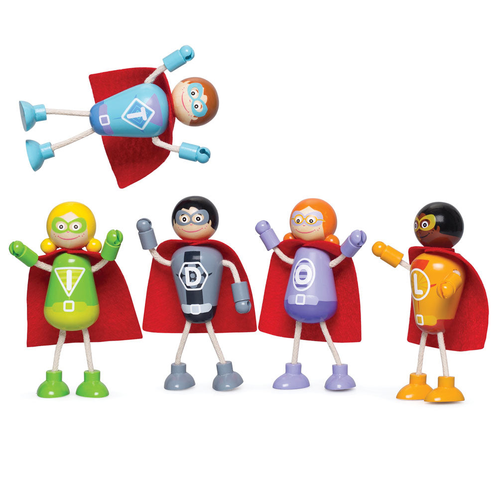 Help save the world with these 5 superheros from Tidlo! They are all suitably dressed in bright colours with distinctive red capes.