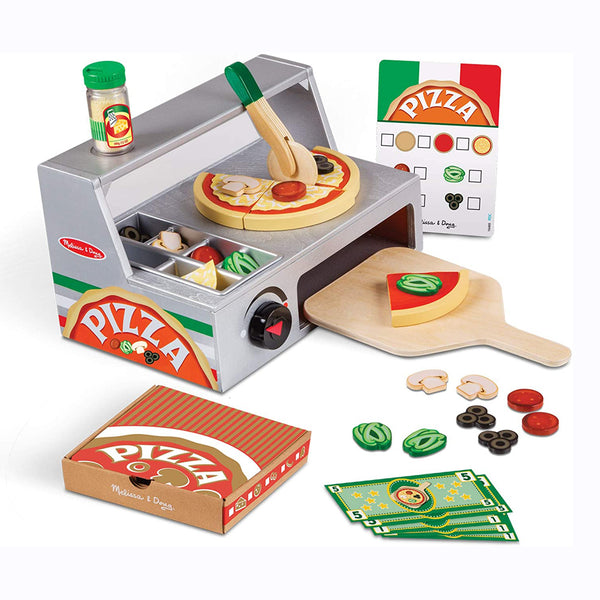 "Create a perfect, fresh-baked pizza, with this deliciously unique 34-piece pizza making set. Start with felt sauce and cheese on the wooden crust, choose from wooden toppings (pepperoni, olives, mushrooms, and peppers), then ""bake"" in the pizza oven built in to the storage and serving counter."